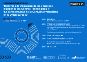 Presentación estudios: «Barreras a la innovación de las empresas» y «La competitividad de la C. Valenciana en la UE»